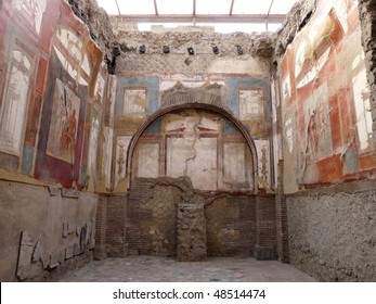 Ancient painted wall frescos at the ancient Roman city of Herculaneum, which was destroyed and buried during the eruption of Mount Vesuvius in 79 AD