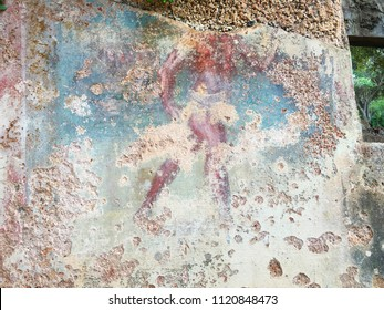 An ancient painting on wall of a house of archaeological Roman site of Tipaza, Algeria.