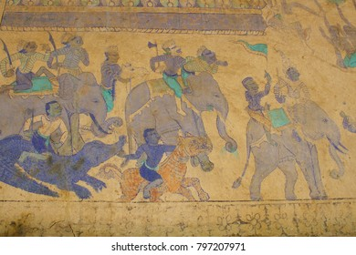 Ancient paintings on the temple walls.