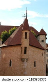 ancient palace with small turret  in the Annecy city in France