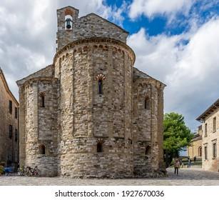 The ancient parish church of Santa Maria Assunta di San Leo, Rimini, Italy, on a sunny day