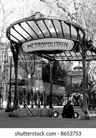 an ancient parisian subway station entrance at Montmartre