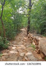 Ancient path going up to Skanda Ashram in Tiruvanamalai India