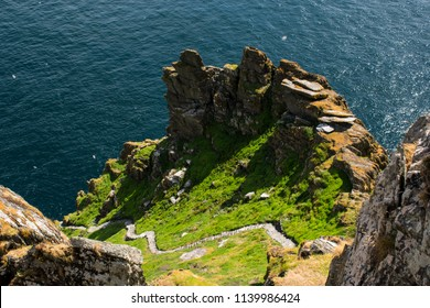 Ancient pathway on the side of Skellig Michael island, Ireland.
