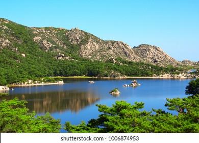 Ancient pavilion on Samil (Samil-po) lake, Kangwon Province, in south-eastern North Korea
