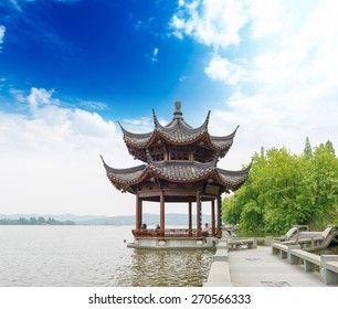 ancient pavilion on the west lake in hangzhou,China