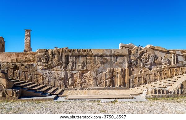 Ancient Persian Carving Persepolis Iran Buildings Landmarks Stock Image 375016597