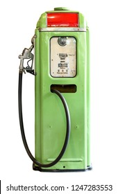 Ancient petrol oil pump dispenser isolated on white background with clipping path