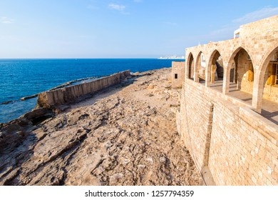 ancient Phoenician wall built for protection from tidal waves, in Batroun, Lebanon