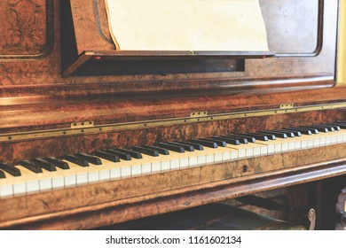 Ancient piano built with noble woods