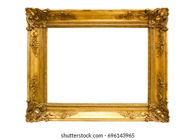Ancient picture frame decorated with gold, isolated on white background with clipping path
