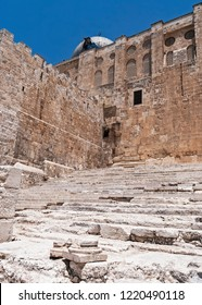 the ancient pilgrim stairs at the southern end of the western wall that led pilgrims to the temple mount in jerusalem