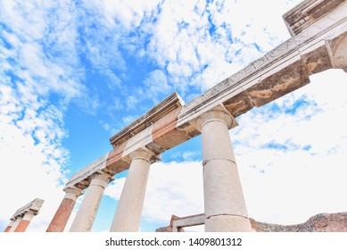 Ancient Pillars of Pompeii City in Italy
