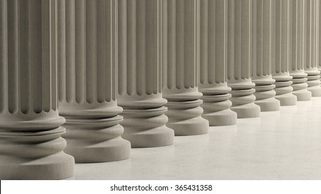 Ancient pillars in a row on marble floor.