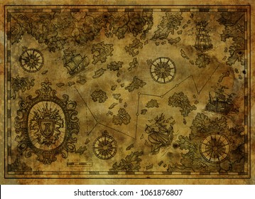 Ancient pirate map with treasure islands, compass, old ships on antique texture background. Decorative antique nautical chart, collage with hand drawn illustration