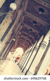 Ancient porticoes in Bologna. Italy