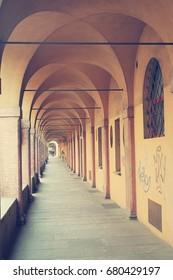 Ancient porticos in Bologna. Italy