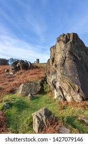 """Ancient precambrian rocks and """"Old John"""" Folly in Bradgate Park, Leicestershire,England, UK"""