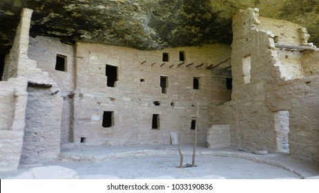 Ancient Pueblo dwellings under the cliffs at Mesa Verde National Park in Colorado, USA.