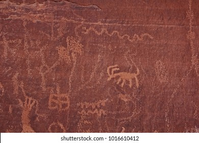 Ancient Pueblo Peoples known as Anasazi, were prevalent in the Moapa Valley. Their occupation has been dated from 300BC to 1150AD. Examples of rock art, a petroglyph pecked into the red sandstone.