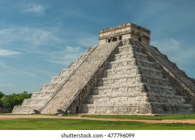 The ancient Pyramid of Kukulcan, or El Castillo, in Chichen Itza, Mexico.