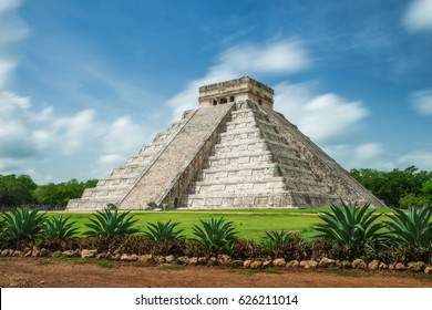 The ancient Pyramid of Kukulcan, or El Castillo, in Chichen Itza, Mexico.