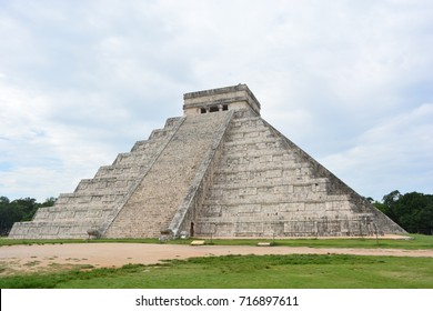 Ancient pyramid at the mayan ruins of Chichen Itza, an UNESCO Heritage Centre and world wonder of Mexico
