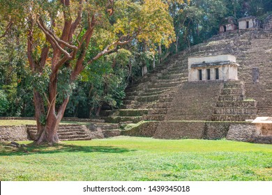 Ancient pyramids of the Mayan Archaeological Site of Bonampak in Chiapas, Mexico