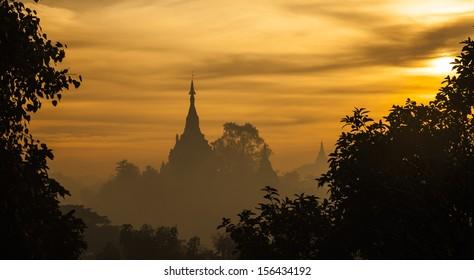 the ancient Rakhine capital,Sunrise, temple at dawn