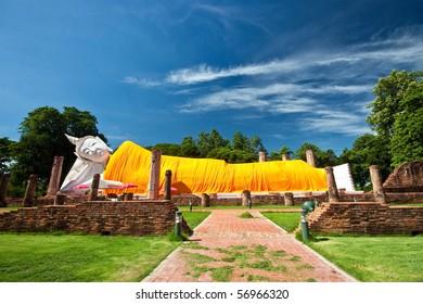 Ancient reclining buddha, Thailand