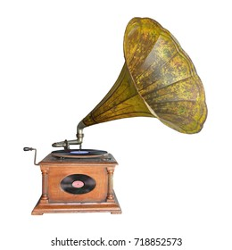 Ancient record player isolated on white background. This has clipping path.