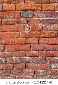 Ancient Red Clay Bricks Wall.