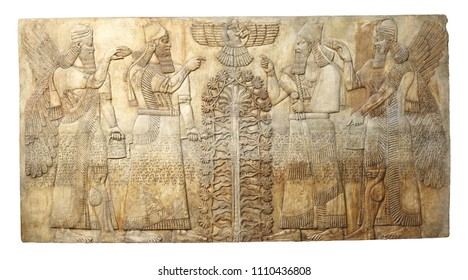 Ancient relief from  Dur-Sharrukin (Khorsabad, Iraq) from palace of Sargon II king of Assyria