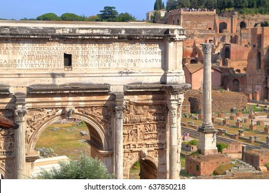 Ancient remains of the Roman forum in Rome, Italy