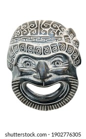 Ancient reproduced mask used from actors on Greek ancient tragedy and comedy in theater performance, isolated on white background.  Souvenir from Greece.
