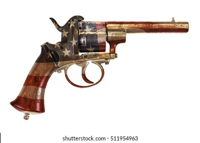 Ancient revolver with the American flag isolated on a white background