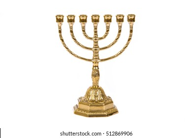Ancient ritual candle menorah on a white background
