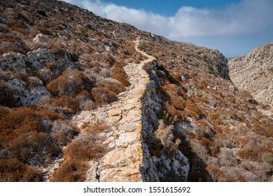 Ancient road on Karpathos Island, Avlona-Tristomo hiking trail