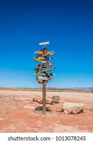 Ancient road sign in the Wild West