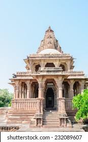 Ancient rock curved temples of Hindu Gods and goddess at Mandor garden, Jodhpur, Rajasthan, India