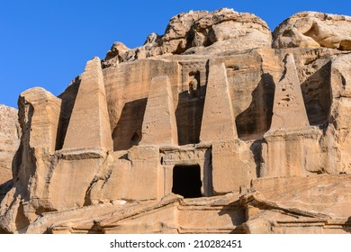 Ancient rock cut architecture of Petra, lost town and the capital of the kingdom of the Nabateans in ancient times. UNESCO World Heritage