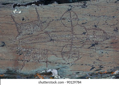 Ancient rock paintings in the Mongolian Altai Mountains