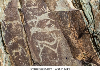 Ancient rock paintings, petroglyphs in the Altai Mountains, Russia.