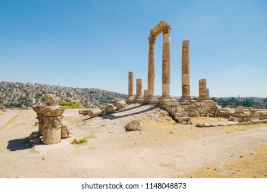 The ancient Roman agora and temples on top of a hill over Amman city, Jordan, Middle East.