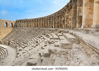 Ancient roman amphitheater Aspendos in Antalya, Turkey.