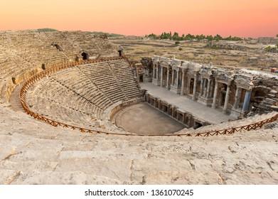Ancient Roman Amphitheater in Hierapolis, Pamukkale - Turkey