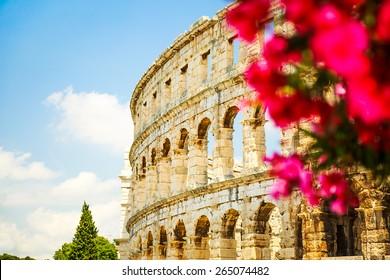 Ancient Roman Amphitheater in Pula, Croatia. Popular Touristic Destination of Istria at Adriatic Sea. Defocused Flowers on the Foreground. Copy Space.