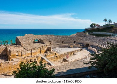 Ancient roman amphitheater of Tarragona, Spain, next to the Mediterranean sea in Costa Dorada, Catalonia, Spain.The Archaeological Ensemble of Tarraco is declared a UNESCO World Heritage Site Ref 875