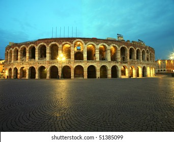 Ancient roman amphitheatre Arena in Verona, Italy at night