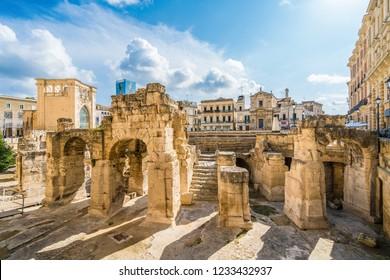 Ancient Roman Amphitheatre in Lecce, Puglia region, southern Italy
